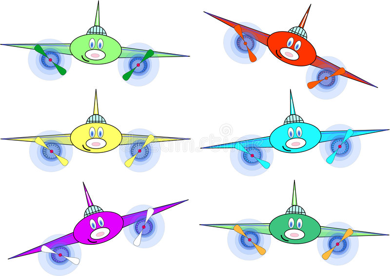multi-coloured planes stock illustration