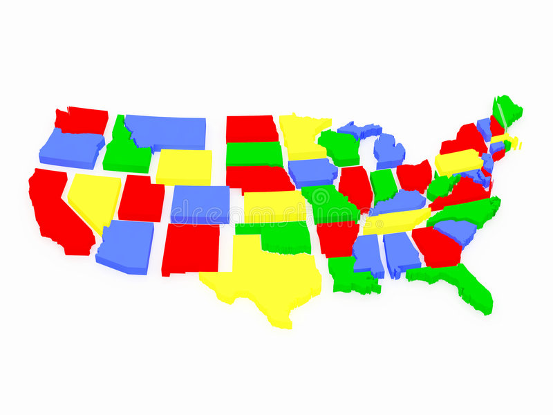 Multi-coloured USA map stock illustration