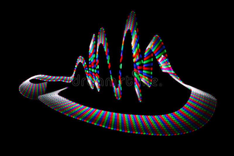 Multi-coloured wavy trace of light-emitting diode. On black background royalty free illustration