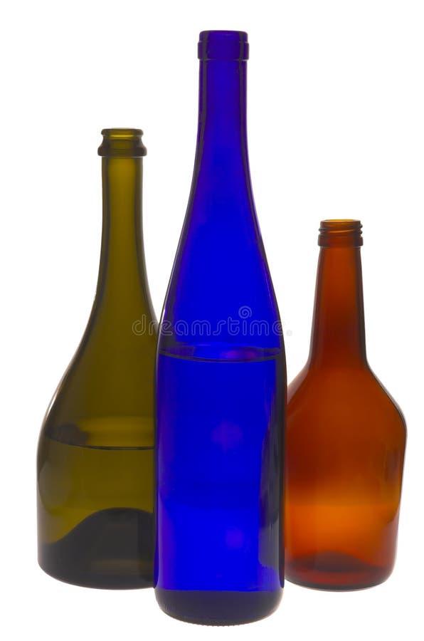 Multi-coloured wijnflessen royalty-vrije stock fotografie