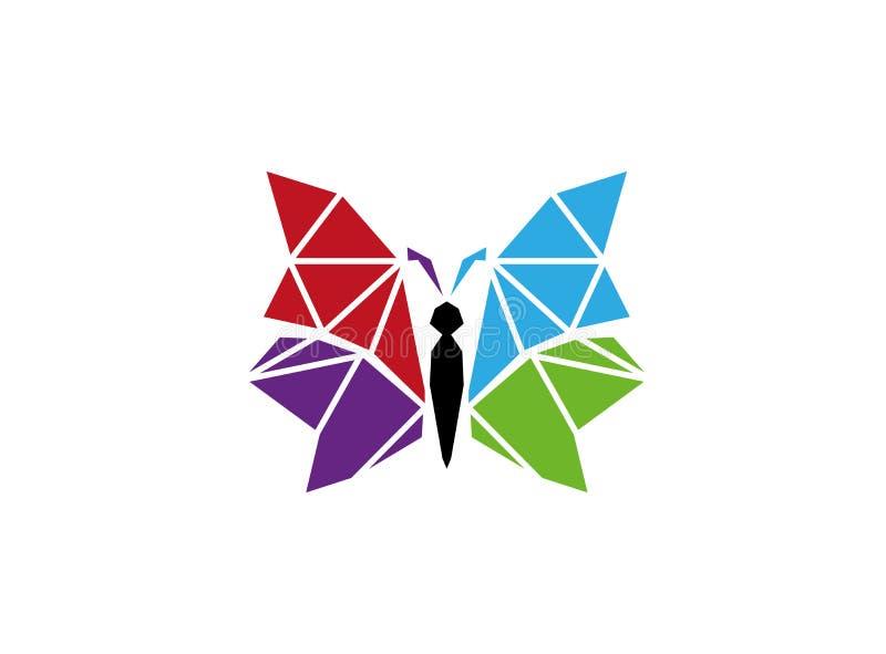 Multi-cores brilhantes e elegantes bonitas e coloridas da borboleta para o projeto do logotipo ilustração royalty free
