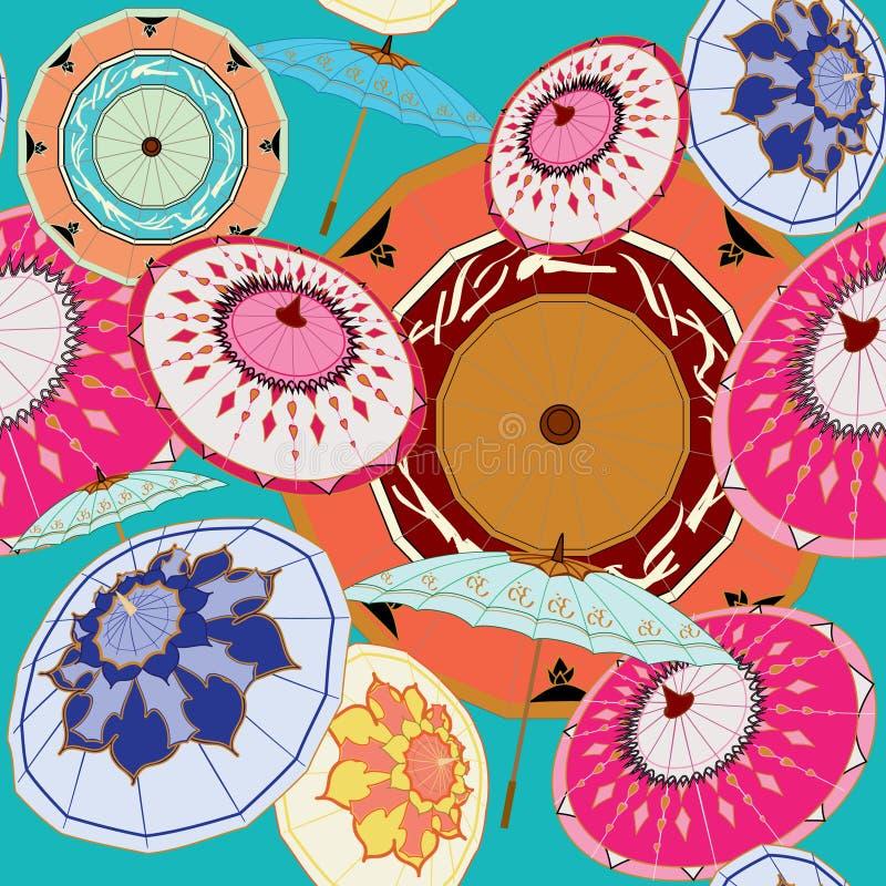 Multi-couleurs orientales de parapluies sur la sarcelle d'hiver illustration de vecteur