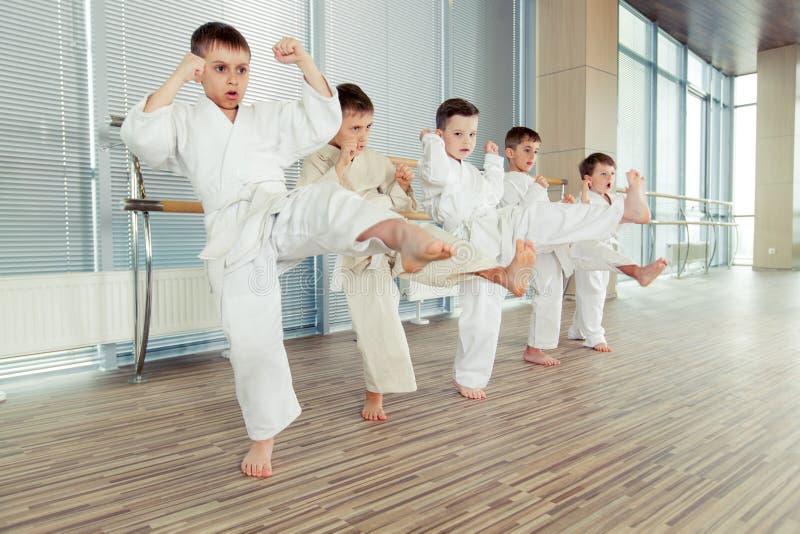 Multi crianças éticas novas, bonitas, bem sucedidas na posição do karaté imagem de stock royalty free