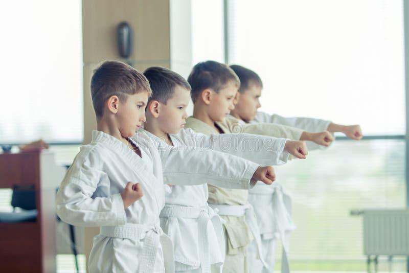 Multi crianças éticas novas, bonitas, bem sucedidas no positi do karaté imagem de stock
