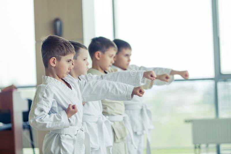 Multi crianças éticas novas, bonitas, bem sucedidas no positi do karaté imagens de stock royalty free