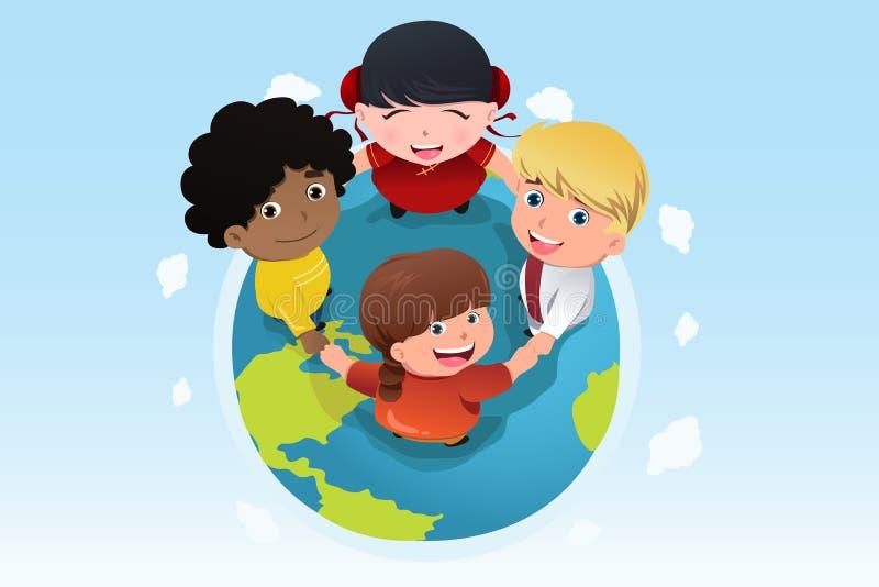 Multi crianças étnicas que mantêm as mãos unidas ilustração do vetor