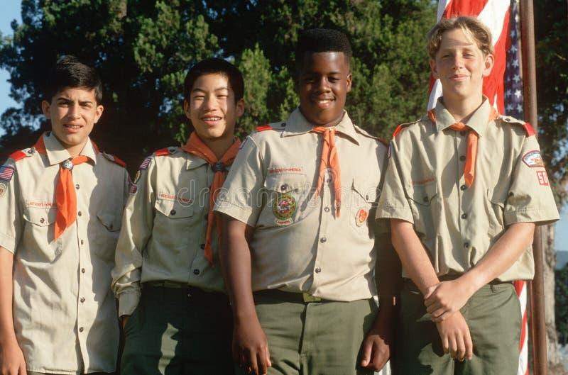 Multi-cultural Boy Scouts stock photos