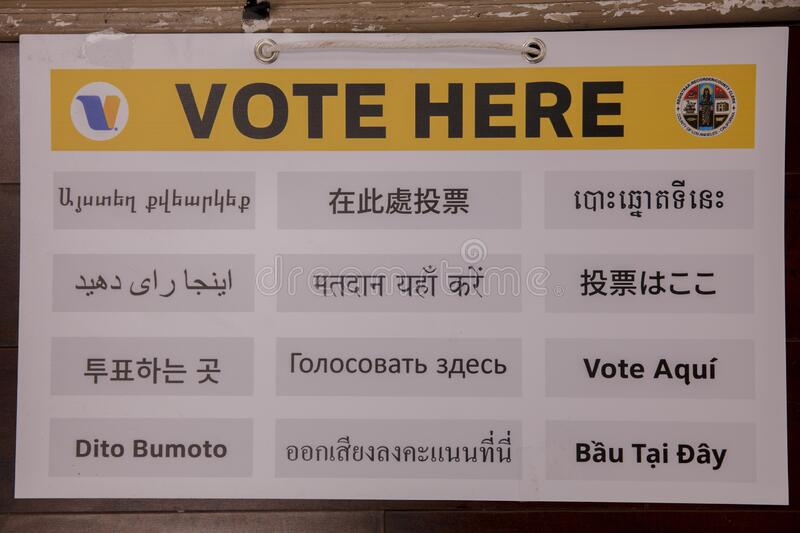 multi-cultural citizens vote on Super Tuesday Presidential Primary at the Iman Cultural Center, LA, CA royalty free stock photo