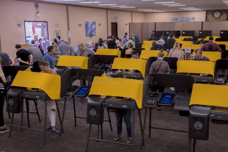 multi-cultural citizens vote on Super Tuesday Presidential Primary at the Iman Cultural Center, LA, CA stock image
