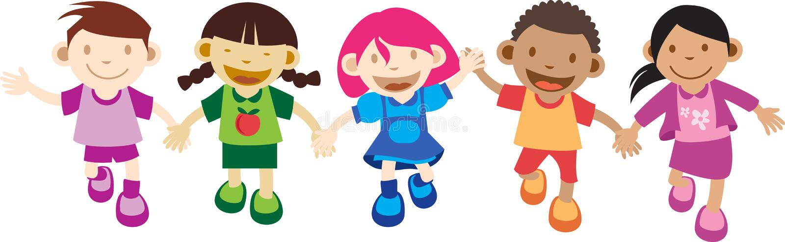 Multi Culture Kids Playing royalty free illustration