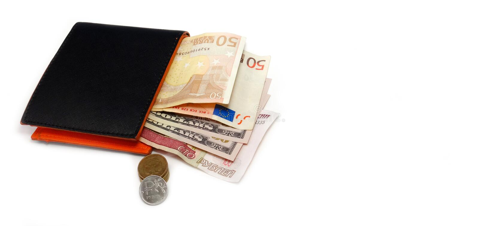 Black wallet with 50 dollar 100 rubles royalty free stock image