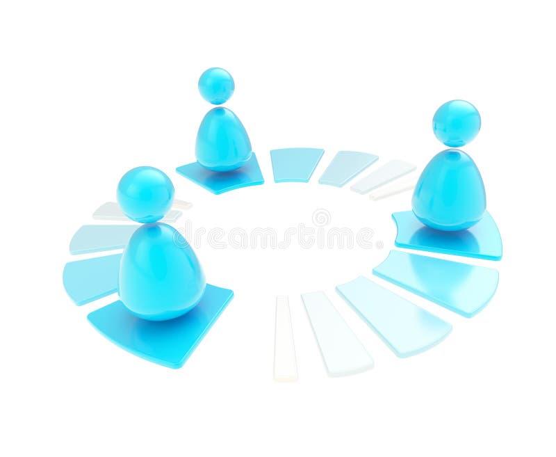 Multi de aansluting van het gebruikersnetwerk geïsoleerdd embleempictogram royalty-vrije illustratie