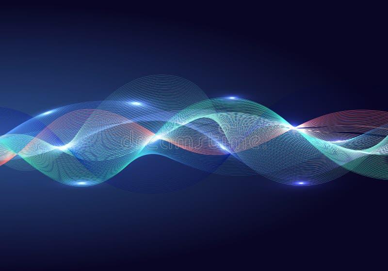 Multi elemento di progettazione dell'onda di colore di colore brillante astratto ed effetto della luce su fondo scuro illustrazione vettoriale