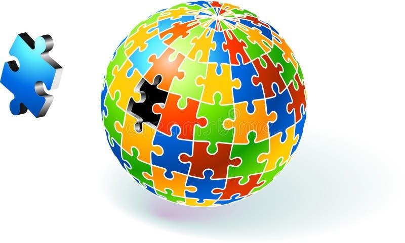 Multi enigma colorido incompleto do globo ilustração do vetor