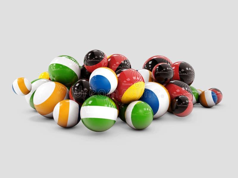 Multi esferas decorativas coloridas no fundo cinzento, ilustração 3d ilustração royalty free