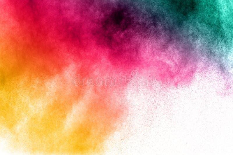 Multi esplosione colorata della polvere su fondo bianco immagini stock