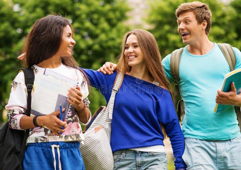 Multi estudantes étnicos em um parque da cidade foto de stock royalty free