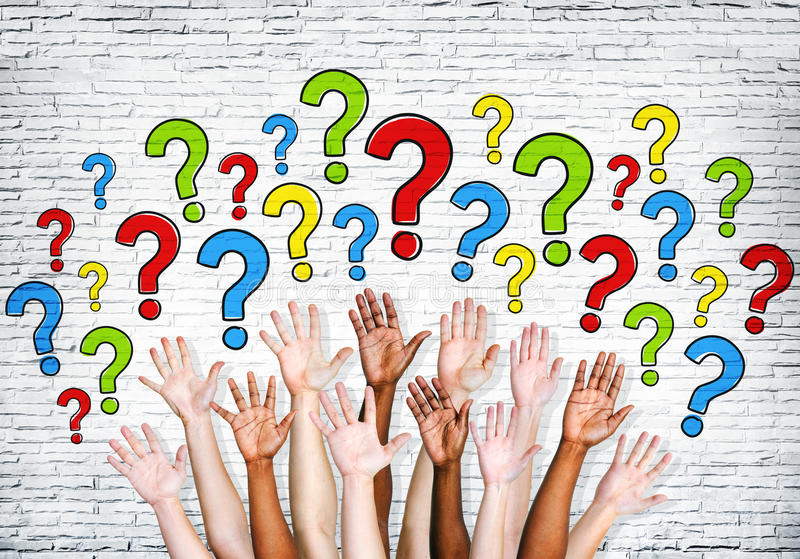 Multi-Ethnic Arms Outstretched To Ask Questions stock photography