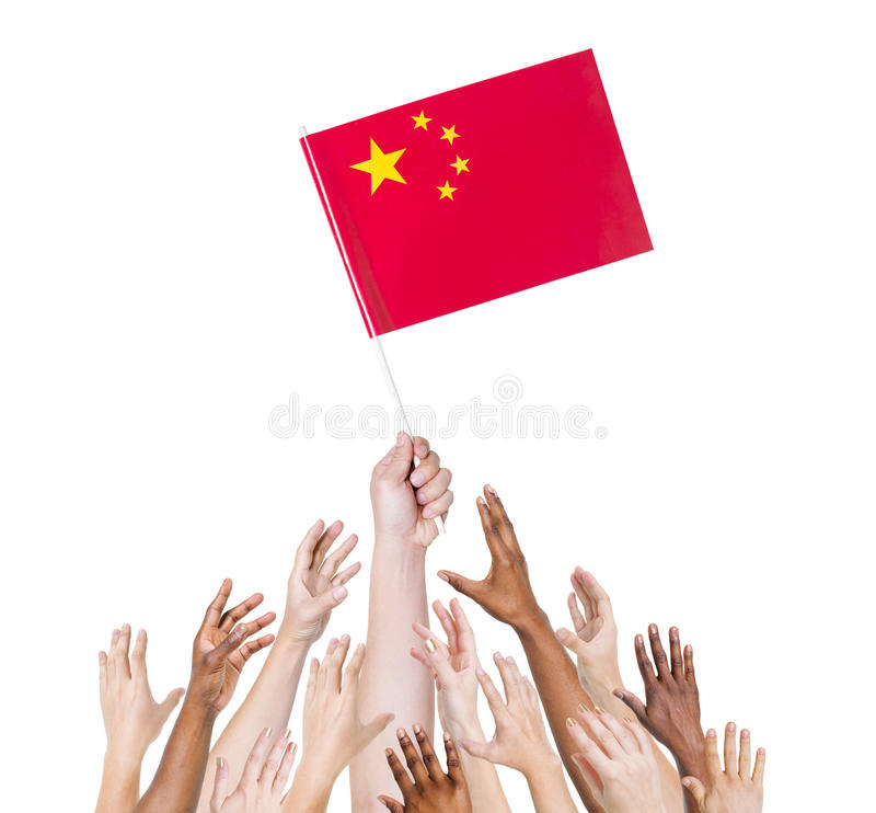 Multi-Ethnic Arms Raised for the Flag of China stock photos