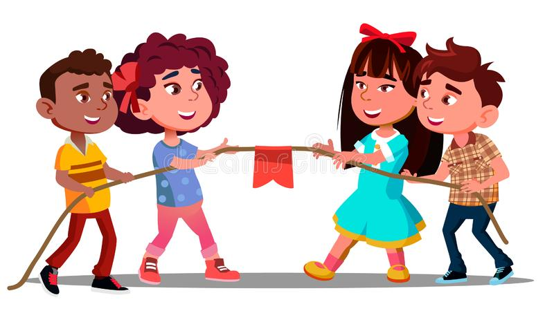 Multi-Ethnic Boys And Girls Pull The Rope In Team Game Vector. Isolated Illustration. Multi-Ethnic Boys And Girls Pull The Rope In Team Game Vector. Illustration stock illustration