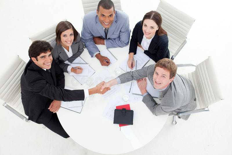 Multi-ethnic Business People Greeting Each Other Stock Photos