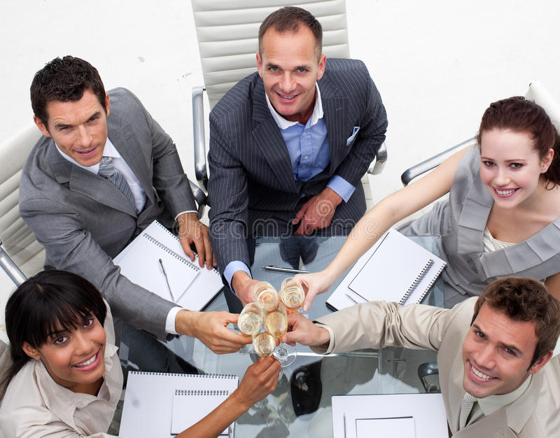 Download Multi-ethnic Business Team Drinking Champagne Stock Photo - Image of employee, champagne: 11853490