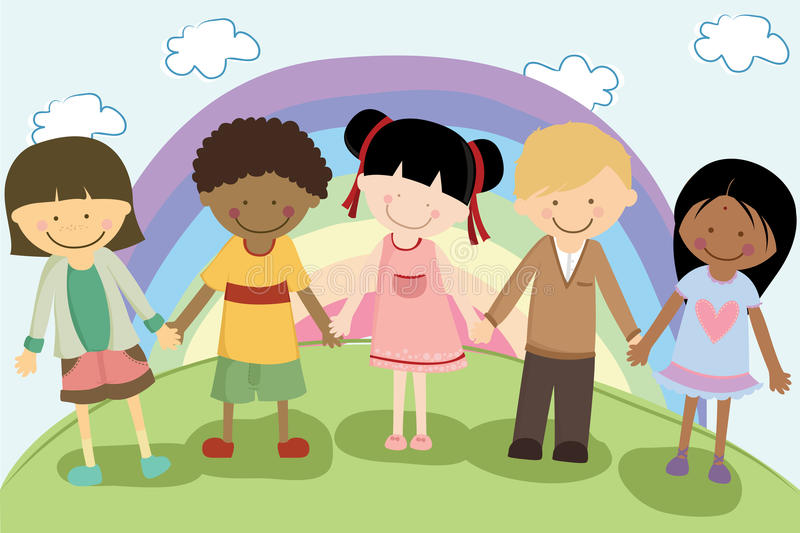 Multi ethnic children stock illustration