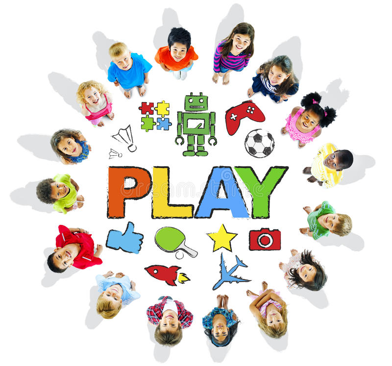 Multi-Ethnic Children Forming a Circle with Play Concepts royalty free illustration