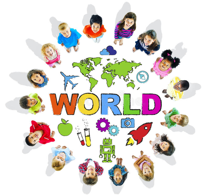 Download Multi-Ethnic Children With Text World And Related Symbols Stock Photo - Image: 41108402
