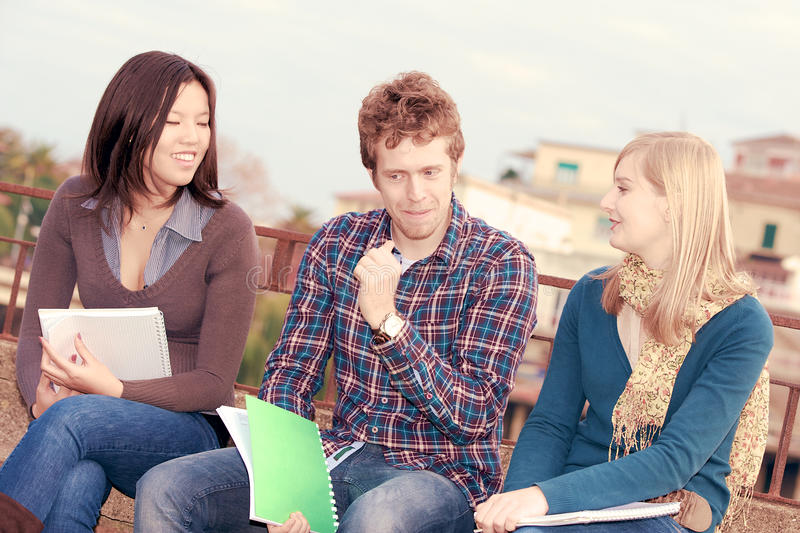 Multi-Ethnic college Students. At park stock image