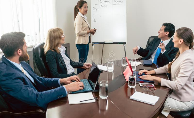 Multi-ethnic group of business people analyzing a project stock photography