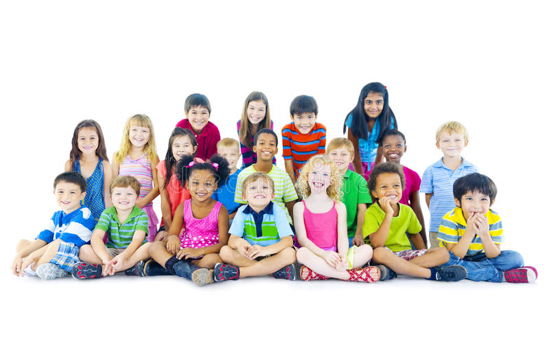 Multi-ethnic group of children sitting royalty free stock image