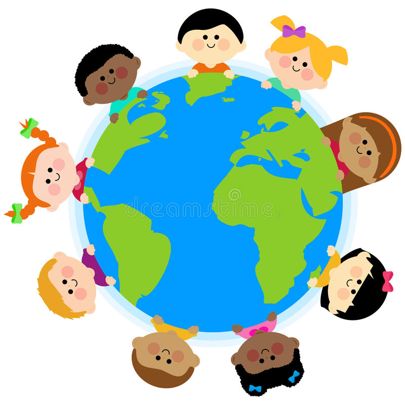 Multi ethnic group of kids around the earth stock illustration
