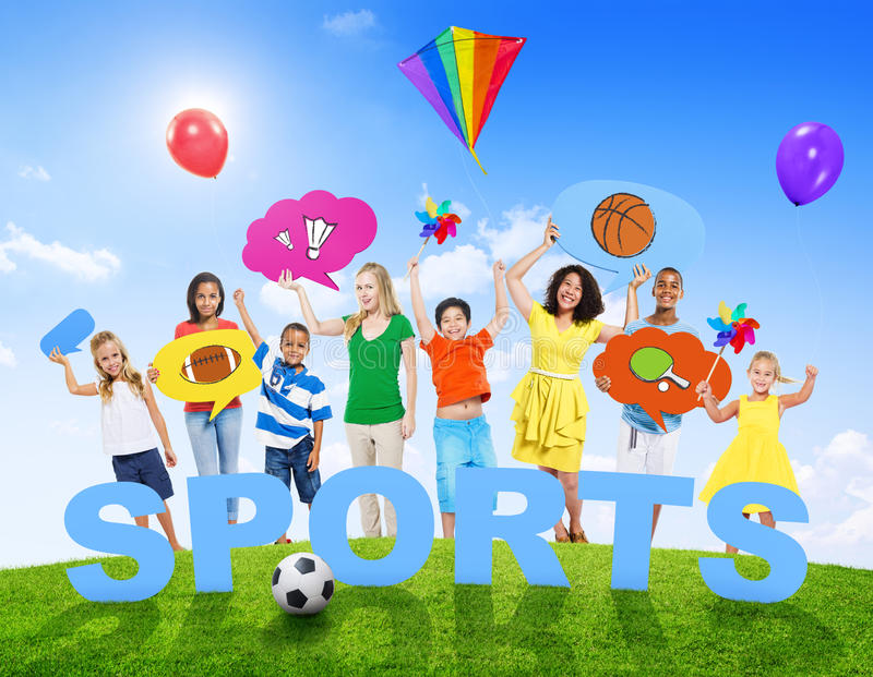 Multi-Ethnic Group of Mixed Age People and Sports Concept stock photo