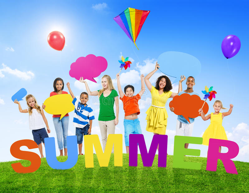 Multi-Ethnic Group of Mixed Age People and Summer Concepts royalty free stock photos