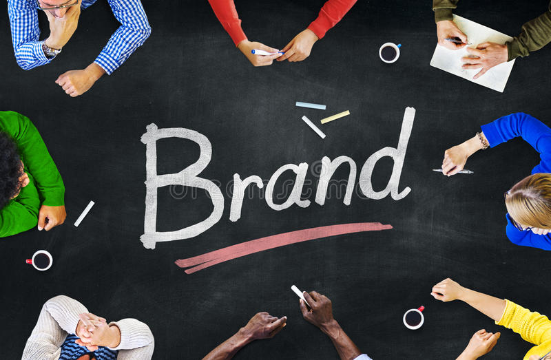 Multi-Ethnic Group of People and Brand Concept stock image