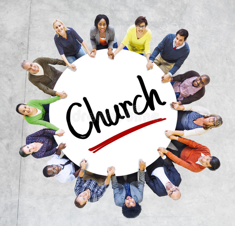 Multi-Ethnic Group of People and Church Concepts.  stock images