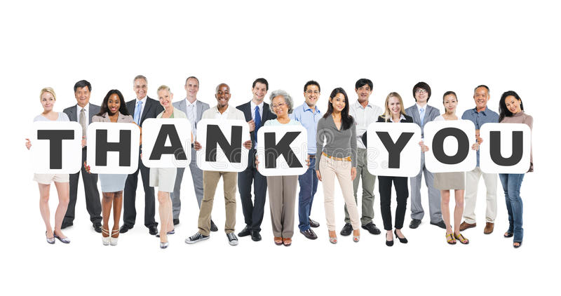 Multi-Ethnic Group of People Holding Letters Thank You stock image
