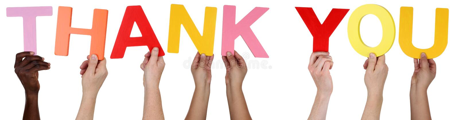 Download Multi Ethnic Group Of People Holding The Word Thank You Stock Photo - Image of people, letters: 53668378
