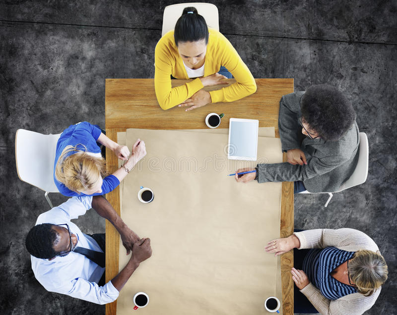 Multi-Ethnic Group of People in Meeting Copy Space Concept stock photography