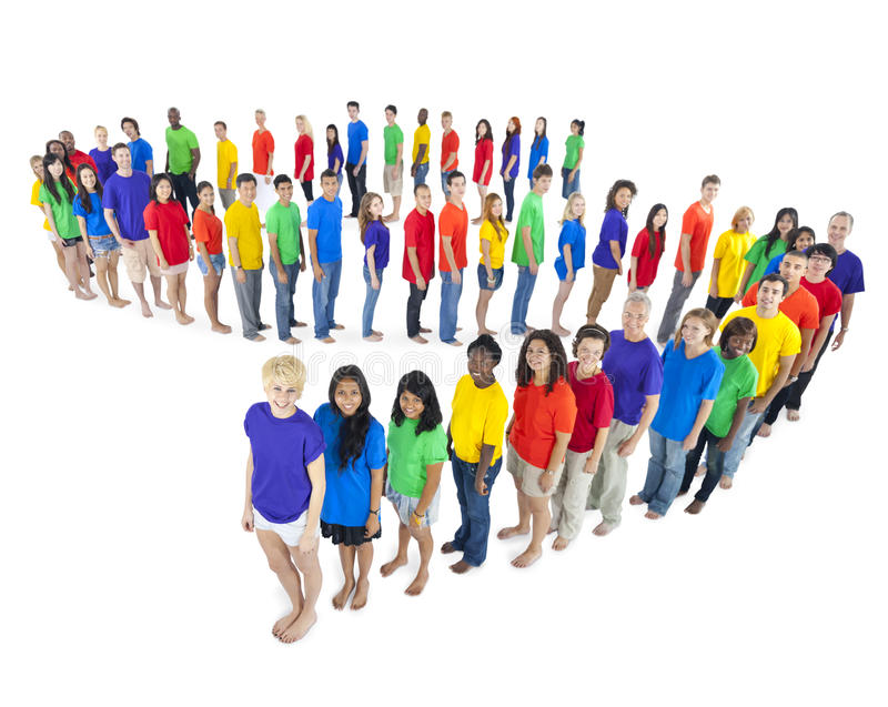 Multi-ethnic group of people standing line Concept.  royalty free stock photography
