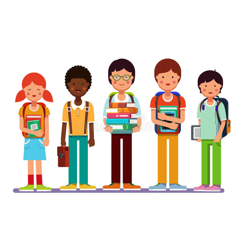 Multi ethnic group of school students kids royalty free illustration