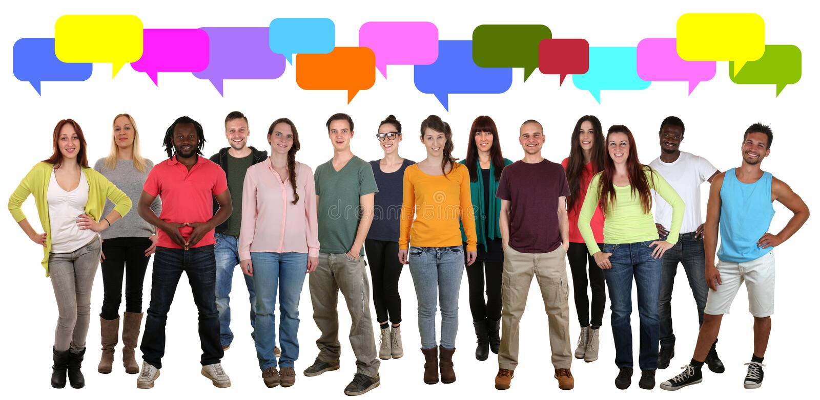 Multi ethnic group of young people talking saying with speech bu royalty free stock photography