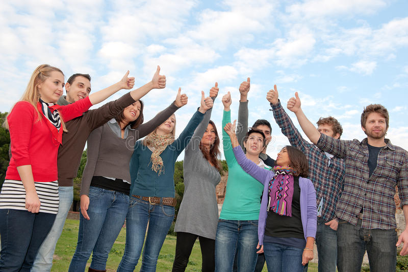Multi-Ethnic Groups Thumbs up stock photo