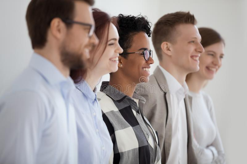 Multi ethnic happy business team people group profile side view royalty free stock photography