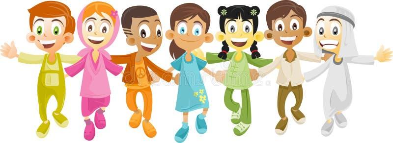 Multi ethnic kids vector illustration