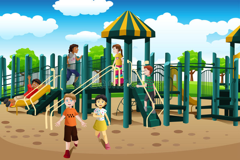 Multi-ethnic kids playing in the playground stock illustration