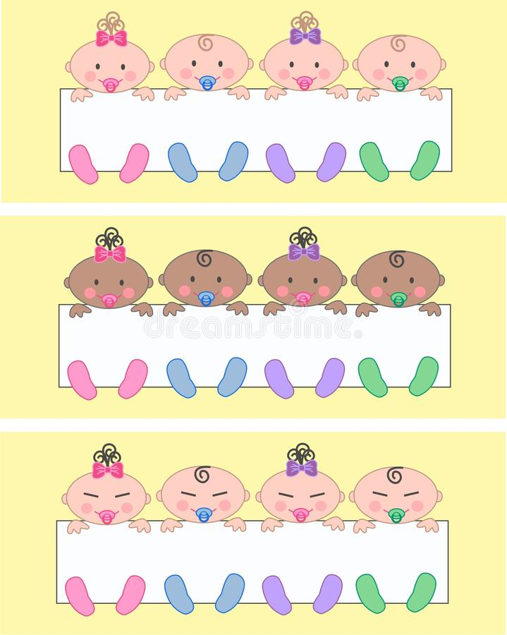 Multi ethnic mixed babies. Illustration of multi ethnic mixed baby boys and baby girls vector illustration