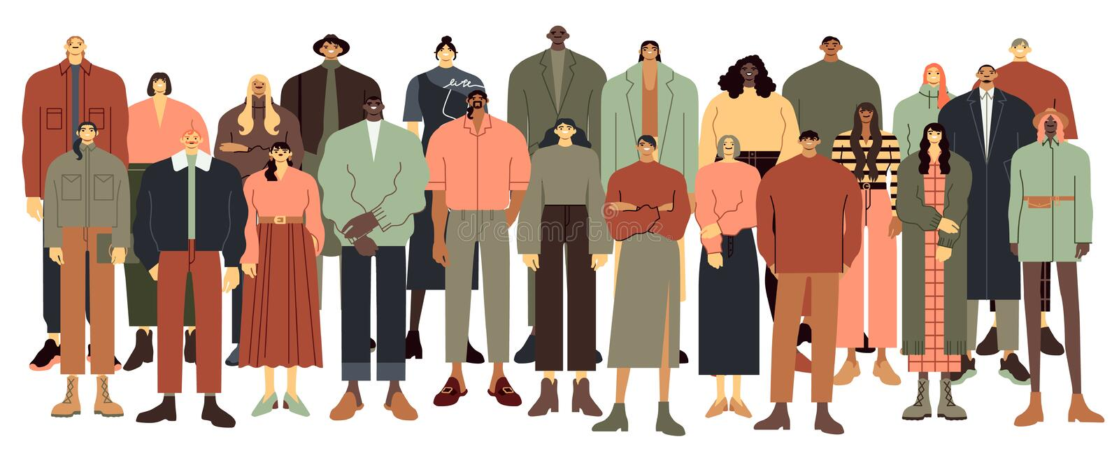 Multi ethnic people group. Multiracial student crowd, multinational young people standing together vector illustration stock illustration