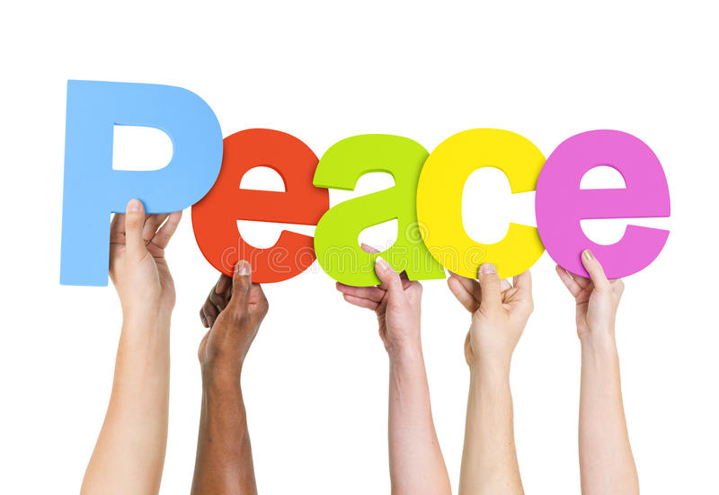 Download Multi Ethnic People Holding The Word Peace Stock Photo - Image: 39320710